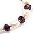 Light Cream Freshwater Pearl & Purple Glass Bead Flex Bracelet -19cm Length - view 10