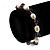 Light Cream Freshwater Pearl & Purple Glass Bead Flex Bracelet -19cm Length - view 3