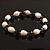 Light Cream Freshwater Pearl & Purple Glass Bead Flex Bracelet -19cm Length - view 4