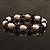 Light Cream Freshwater Pearl & Purple Glass Bead Flex Bracelet -19cm Length - view 6