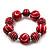 Red & White Wood Bead Flex Bracelet - 19cm Length - view 2