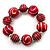 Red & White Wood Bead Flex Bracelet - 19cm Length - view 7