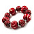 Red & White Wood Bead Flex Bracelet - 19cm Length - view 9