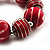 Red & White Wood Bead Flex Bracelet - 19cm Length - view 4