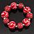 Red & White Wood Bead Flex Bracelet - 19cm Length