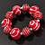 Red & White Wood Bead Flex Bracelet - 19cm Length - view 6