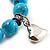 Turquoise Bead Charm Heart Flex Bracelet -21cm Length - view 5