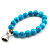 Turquoise Bead Charm Heart Flex Bracelet -21cm Length - view 8
