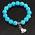 Turquoise Bead Charm Heart Flex Bracelet -21cm Length - view 3