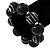 Chunky Black Wood Flex Bracelet - 21cm Length - view 2