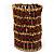 Wide Red Crystal Egyptian Style Flex Bracelet (Burn Gold Tone Finish) - 8cm Width