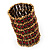 Wide Red Crystal Egyptian Style Flex Bracelet (Burn Gold Tone Finish) - 8cm Width - view 5