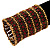 Wide Red Crystal Egyptian Style Flex Bracelet (Burn Gold Tone Finish) - 8cm Width - view 2