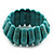 Wide Turquoise Stone Flex Bracelet - 18cm Length - view 4
