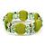 Light Olive Green Cat Eye Glass Bead Flex Bracelet -18cm Length