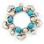Chunky Flex Metal & Turquoise Bead 'Heart' Charm Bracelet - view 3