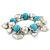 Chunky Flex Metal & Turquoise Bead 'Heart' Charm Bracelet - view 9