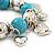 Chunky Flex Metal & Turquoise Bead 'Heart' Charm Bracelet - view 4