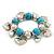 Chunky Flex Metal & Turquoise Bead 'Heart' Charm Bracelet - view 8