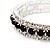 Black & Clear Swarovski Crystal Flex Bracelet (Silver Tone Metal) - 18cm Length - view 3