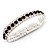 Black & Clear Swarovski Crystal Flex Bracelet (Silver Tone Metal) - 18cm Length - view 6