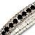 Black & Clear Swarovski Crystal Flex Bracelet (Silver Tone Metal) - 18cm Length - view 5