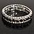 Black & Clear Swarovski Crystal Flex Bracelet (Silver Tone Metal) - 18cm Length - view 4