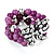 3 Strand Purple Bead Butterfly Flex Bracelet - 17cm Length - view 8