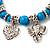 'Heart & Elephant' Turquoise Bead Charm Flex Bracelet (Silver Plated Metal) - view 5