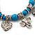 'Heart & Elephant' Turquoise Bead Charm Flex Bracelet (Silver Plated Metal) - view 3