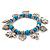 'Heart & Elephant' Turquoise Bead Charm Flex Bracelet (Silver Plated Metal) - view 7