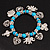 'Heart & Elephant' Turquoise Bead Charm Flex Bracelet (Silver Plated Metal) - view 2