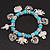'Heart & Elephant' Turquoise Bead Charm Flex Bracelet (Silver Plated Metal) - view 11
