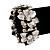 Antique Silver Flower Diamante Flex Bracelet - Up to 19cm length