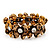 Antique Gold Floral Diamante Flex Bracelet - Up to 19cm length