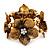 4 Large Diamante Flower Flex Bracelet In Antique Gold - up to 18cm Length