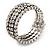 Bridal Clear CZ Wrap Bangle Bracelet - Adjustable - view 7