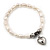 White Freshwater Pearl Silver Metal 'Heart' Flex Bracelet (Up To 19cm Length) - view 3