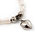 White Freshwater Pearl Silver Metal 'Heart' Flex Bracelet (Up To 19cm Length) - view 5