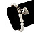 White Freshwater Pearl Silver Metal 'Heart' Flex Bracelet (Up To 19cm Length) - view 2