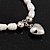 White Freshwater Pearl Silver Metal 'Heart' Flex Bracelet (Up To 19cm Length) - view 6
