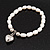 White Freshwater Pearl Silver Metal 'Heart' Flex Bracelet (Up To 19cm Length) - view 4