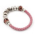 Silver Tone Metal Bead Pink Leather Flex Bracelet - up to 20cm Length - view 4