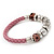 Silver Tone Metal Bead Pink Leather Flex Bracelet - up to 20cm Length - view 2