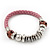 Silver Tone Metal Bead Pink Leather Flex Bracelet - up to 20cm Length - view 3