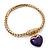 Gold Plated Magnetic Purple Enamel Heart Charm Bracelet - up to 18cm Length