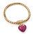 Gold Plated Magnetic Pink Enamel Heart Charm Bracelet - up to 18cm Length