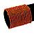 Wide Orange Glass Bead Flex Bracelet - up to 19cm wrist