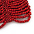Wide Coral Red Glass Bead Flex Bracelet - up to 19cm wrist - view 4