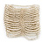 Wide Transparent White Glass Bead Flex Bracelet - up to 19cm wrist - view 2
